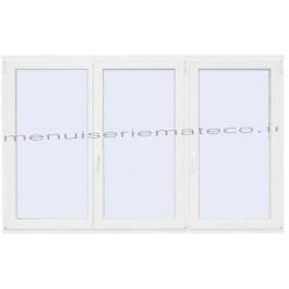 Fenêtre PVC 3 Vantaux Hauteur 1380 mm x Largeur 1960 mm stock limité