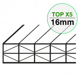 Plaque Polycarbonate Structure X Larg. 1200 mm TOP X5 EP 16 mm