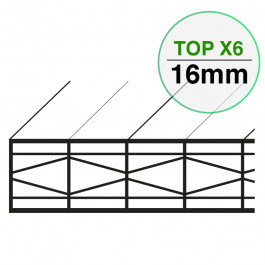 Plaque Polycarbonate Structure X Larg. 980mm TOP X6 EP 16 mm