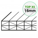 Plaque Polycarbonate Structure X Larg. 1050 mm TOP X5 EP 16 mm